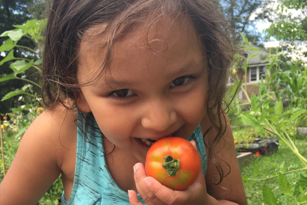 Girl eating organic tomatoe